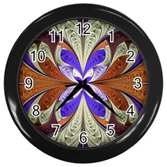 Fractal Splits Silver Gold Wall Clocks (black) by Celenk