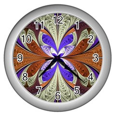 Fractal Splits Silver Gold Wall Clocks (silver)  by Celenk