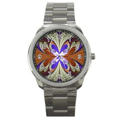 Fractal Splits Silver Gold Sport Metal Watch by Celenk