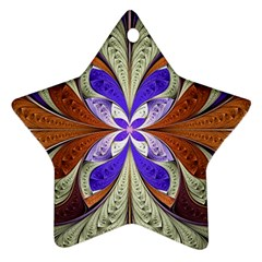 Fractal Splits Silver Gold Star Ornament (two Sides) by Celenk