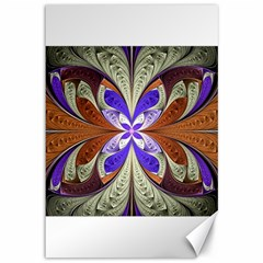 Fractal Splits Silver Gold Canvas 12  X 18   by Celenk
