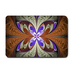 Fractal Splits Silver Gold Small Doormat  by Celenk