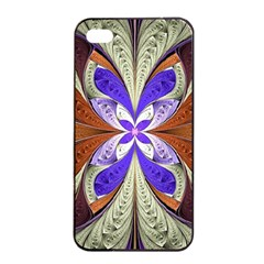 Fractal Splits Silver Gold Apple Iphone 4/4s Seamless Case (black) by Celenk