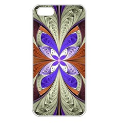 Fractal Splits Silver Gold Apple Iphone 5 Seamless Case (white) by Celenk