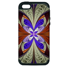 Fractal Splits Silver Gold Apple Iphone 5 Hardshell Case (pc+silicone) by Celenk