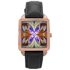 Fractal Splits Silver Gold Rose Gold Leather Watch  by Celenk