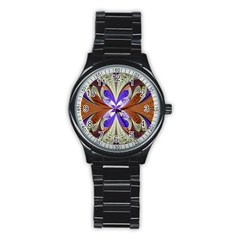 Fractal Splits Silver Gold Stainless Steel Round Watch by Celenk