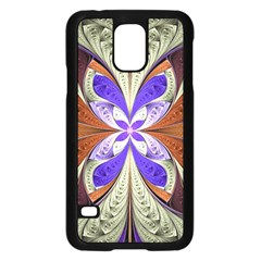 Fractal Splits Silver Gold Samsung Galaxy S5 Case (black) by Celenk