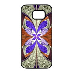 Fractal Splits Silver Gold Samsung Galaxy S7 Edge Black Seamless Case by Celenk