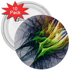 Fractal Art Paint Pattern Texture 3  Buttons (10 Pack)