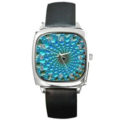 Fractal Art Design Pattern Square Metal Watch by Celenk