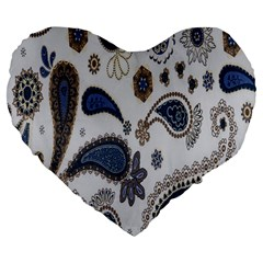 Pattern Embroidery Fabric Sew Large 19  Premium Flano Heart Shape Cushions by Celenk
