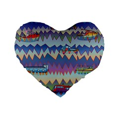Zig Zag Boats Standard 16  Premium Flano Heart Shape Cushions by CosmicEsoteric