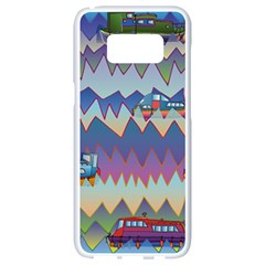 Zig Zag Boats Samsung Galaxy S8 White Seamless Case by CosmicEsoteric