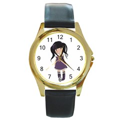 Dolly Girl In Purple Round Gold Metal Watch