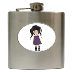 Dolly Girl In Purple Hip Flask (6 Oz) by Valentinaart