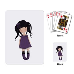 Dolly Girl In Purple Playing Card by Valentinaart
