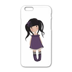 Dolly Girl In Purple Apple Iphone 6/6s White Enamel Case by Valentinaart