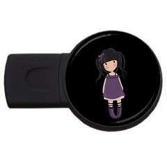 Dolly Girl In Purple Usb Flash Drive Round (4 Gb) by Valentinaart
