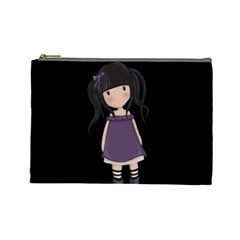 Dolly Girl In Purple Cosmetic Bag (large)  by Valentinaart