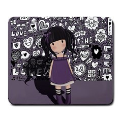 Dolly Girl In Purple Large Mousepads by Valentinaart