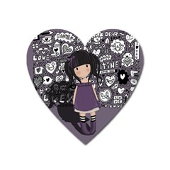 Dolly Girl In Purple Heart Magnet by Valentinaart