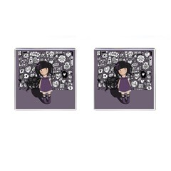 Dolly Girl In Purple Cufflinks (square) by Valentinaart