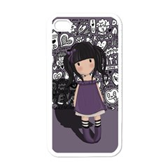Dolly Girl In Purple Apple Iphone 4 Case (white)