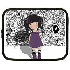 Dolly Girl In Purple Netbook Case (large) by Valentinaart