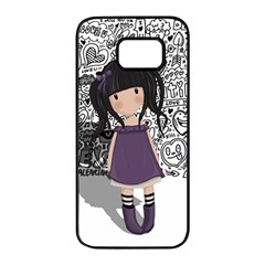 Dolly Girl In Purple Samsung Galaxy S7 Edge Black Seamless Case by Valentinaart