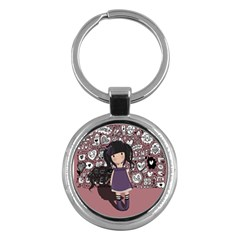 Dolly Girl In Purple Key Chains (round)  by Valentinaart