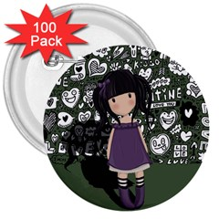 Dolly Girl In Purple 3  Buttons (100 Pack)  by Valentinaart