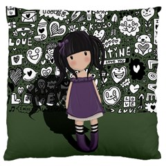 Dolly Girl In Purple Large Cushion Case (two Sides) by Valentinaart