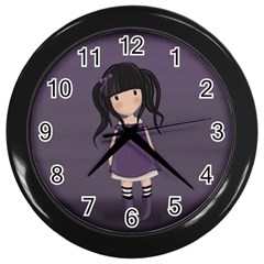 Dolly Girl In Purple Wall Clocks (black) by Valentinaart