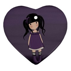 Dolly Girl In Purple Heart Ornament (two Sides)