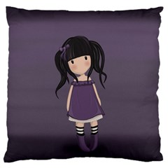 Dolly Girl In Purple Large Flano Cushion Case (one Side) by Valentinaart