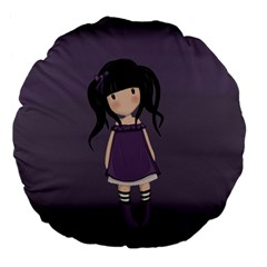 Dolly Girl In Purple Large 18  Premium Flano Round Cushions by Valentinaart