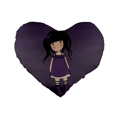 Dolly Girl In Purple Standard 16  Premium Flano Heart Shape Cushions by Valentinaart