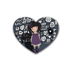 Dolly Girl In Purple Heart Coaster (4 Pack)  by Valentinaart