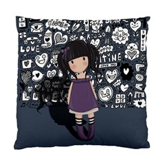 Dolly Girl In Purple Standard Cushion Case (one Side) by Valentinaart
