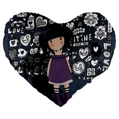 Dolly Girl In Purple Large 19  Premium Heart Shape Cushions by Valentinaart