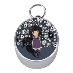 Dolly Girl In Purple Mini Silver Compasses by Valentinaart