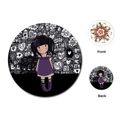Dolly Girl In Purple Playing Cards (round)  by Valentinaart