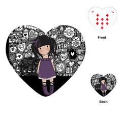 Dolly Girl In Purple Playing Cards (heart)  by Valentinaart