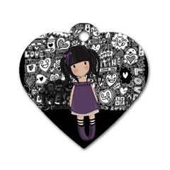 Dolly Girl In Purple Dog Tag Heart (one Side)