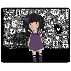 Dolly Girl In Purple Fleece Blanket (medium)  by Valentinaart