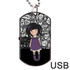 Dolly Girl In Purple Dog Tag Usb Flash (one Side) by Valentinaart