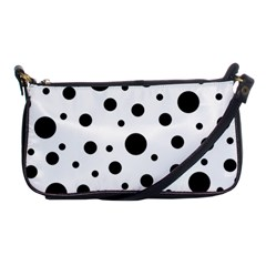 Black On White Polka Dot Pattern Shoulder Clutch Bags by LoolyElzayat