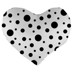 Black On White Polka Dot Pattern Large 19  Premium Heart Shape Cushions by LoolyElzayat