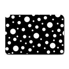 White On Black Polka Dot Pattern Small Doormat  by LoolyElzayat
